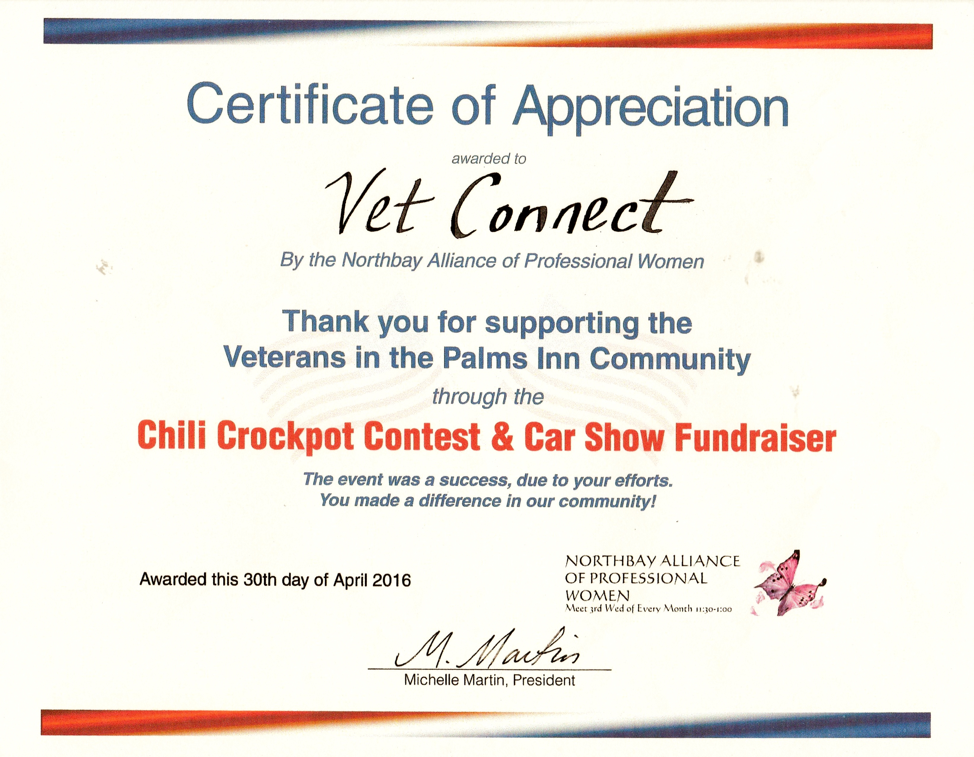 Sonoma county vet connect inc the northbay alliance of professional women awarded us with a certificate of appreciation for our work in supporting the veterans in the palms inn community yadclub Image collections